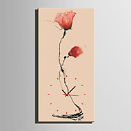 E-HOME® Ink Painting Flowers Clock in Canvas 1pcs