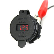 IZTOSS 2.1A & 2.1A Waterproof Dual USB Charger Phone Charger Power Supply Socket with Voltmeter Red Light