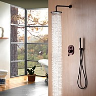Contemporary Simple Design Wall Mounted Rain Shower  Oil-rubbed Bronze Finish Bathroom Shower Faucet Set with Handheld Shower