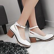 Feminino Sapatos Couro Ecológico Primavera Conforto Rasos Salto Baixo Salto Grosso Ponta Redonda Com Para Casual Branco Preto Amêndoa