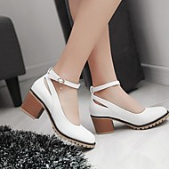 Dame Flate sko Komfort PU Vår Avslappet Lav hæl Tykk hæl Hvit Svart Mandel 2,5 - 4,5 cm