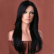Γυναικείο Συνθετικές Περούκες Χωρίς κάλυμμα Μακρύ Φυσικό Κυματιστό Μαύρο Πλευρικό μέρος Με αφέλειες Φυσική περούκα φορεσιά περούκες