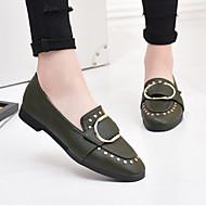 Damen Flache Schuhe Komfort PU Frühling Normal Niedriger Absatz Schwarz Grün Unter 2,5 cm