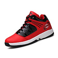 Men's Athletic Shoes Basketball Comfort Light Soles PU Fall Winter Athletic Outdoor Lace-up Flat Heel Blue Ruby Black Flat