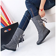 Women's Shoes PU Fall Winter Comfort Boots With For Casual Black Gray Brown