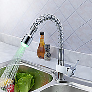 Contemporary LED Centerset Rotatable High Quality with  Single Handle Spring Pull Out Spray Kitchen Sink Faucet in Chrome