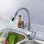 Moderne LED Mittellage drehbar Gute Qualität with  Keramisches Ventil Chrom , Armatur für die Küche
