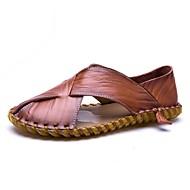Muške Sandale Udobne cipele Ljeto Prava koža Koža Cipele za vodu Kauzalni Ravna potpetica Crn Braon Ravne
