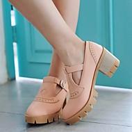 Feminino Sapatos Couro Ecológico Verão Conforto Oxfords Salto Grosso Dedo Apontado Com Para Casual Preto Bege Rosa claro