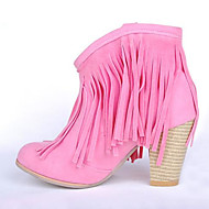 Women's Boots Comfort Fall Winter PU Casual Wedge Heel Brown Ruby Blushing Pink 4in-4 3/4in