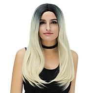 Kadın Uzun Sarı Gül / Yeşil Gümüş Menekşe Altın pembe Parlak Mor Saç Sentetik Saç Bonesiz Doğal Peruk Parti peruk Cadılar Bayramı Peruk