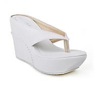 Для женщин Тапочки и Шлепанцы Удобная обувь Полиуретан Лето Повседневные Белый Розовый 9,5 - 12 см