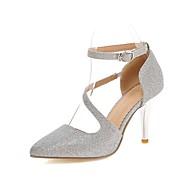 Femme Chaussures à Talons Confort Similicuir Printemps Eté Mariage Décontracté Marche Boucle Talon Aiguille Or Argent 7,5 à 9,5 cm