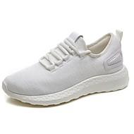 Femme Chaussures d'Athlétisme Confort Polyuréthane Automne Hiver Décontracté Marche Lacet Talon Plat Blanc Noir Gris Plat