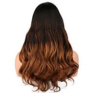 Femme Perruque Naturelles Dentelle Cheveux humains Lace Front 130% Densité Frisés Perruque Noir / Marron Moyen Mi Longue Long Cheveux