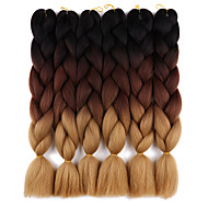 Ogroman Kukičane pletenice Afro Ombre pletenice 100% kanekalonSrednje smeđa / Srednja Auburn Srednje smeđa Crna / plava Crno / Ljubičasta