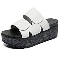 Для женщин Тапочки и Шлепанцы Удобная обувь Полиуретан Лето Повседневные Для прогулок Микропоры Белый Черный 7 - 9,5 см