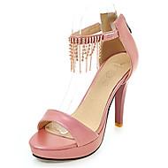 Feminino Sandálias Conforto Courino Verão Casual Corrente Salto Agulha Branco Prata Cinzento Rosa claro 10 a 12 cm