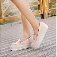 Naiset Kengät PU Kevät Comfort Tasapohjakengät Kanssa Käyttötarkoitus Kausaliteetti Musta Sininen Vaalea vaaleanpunainen