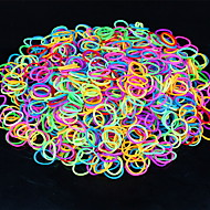 600pcs regenboog kleuren loom lichtgevende mode weefgetouw band (1Package s clip, diverse kleuren)