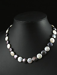 Chocolate and White Coin Pearl Necklace