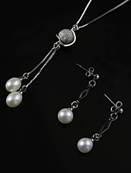 White 3.5 - 4mm A Pearl Necklace With Silver Chain Matching Earring