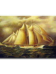 Hand-painted Oil Painting Yacht Alice Rounding the Buoy by James Edward with Stretched Frame
