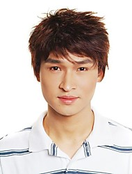 Capless Short Synthetic Brown Men's Straight Hair Wig