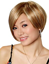 Capless Short Golden Brown With Blonde Synthetic Bob Hair Wig