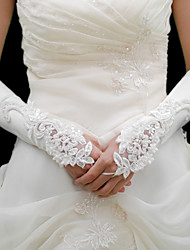 Elastic Satin Elbow Embroidery With Beadings Wedding Gloves