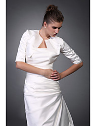 3/4-Length Sleeves Satin Bridal Jacket / Wedding Wrap (WSM0422)