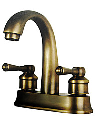Two Handles Antique Brass Centerset Bathroom Sink Faucet (0698-F-5017)