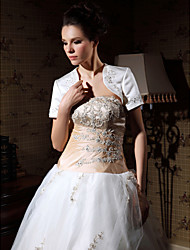 Short Sleeve Satin Applique Bridal Jacket/ Wedding Wrap (WSM0542)