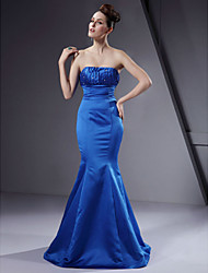 Lanting Bride® Floor-length Satin Bridesmaid Dress - Trumpet / Mermaid Strapless Plus Size / Petite with Beading / Draping