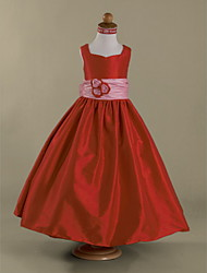 A-line / Princess Floor-length Flower Girl Dress - Taffeta Sleeveless Queen Anne / Straps withBow(s) / Flower(s) / Sash / Ribbon /