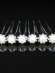 Gorgeous Clear Crystals And Imitation Pearls Wedding Bridal Pins/ Flowers,6 Pieces