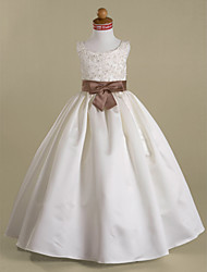 A-line Ball Gown Princess Floor-length Flower Girl Dress - Satin Scoop with Appliques Beading Bow(s) Sash / Ribbon