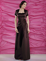 Lanting Sheath/Column Plus Sizes / Petite Mother of the Bride Dress - Chocolate Floor-length Short Sleeve Satin