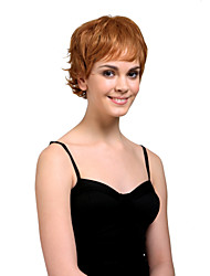 Capless Short High Quality Synthetic Natural Look Unisex Style Golden Brown Curly Hair Wig