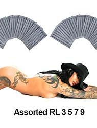 200 unidades esterilizadas forros rodada sortidos (RL) agulhas de tatuagem (tamanho 3 5 7 9)
