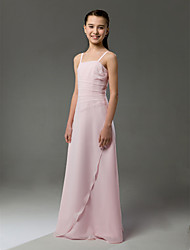 Floor-length Chiffon Junior Bridesmaid Dress Sheath / Column Spaghetti Straps Natural with Ruffles / Side Draping