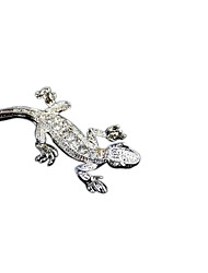 Stainless Steel Gecko Shape Inlay Rhinestone Sticker Decor for Car Truck