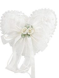 Lovely Flowers And Pearl Decoration Smooth Satin Wedding Ring Pillow