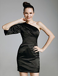 Cocktail Party/Holiday Dress - Black Plus Sizes Sheath/Column One Shoulder Short/Mini Charmeuse