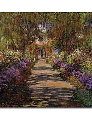 Hand-painted  Pathway in Monet's Garden at Giverny Oil Painting by Claude Monet  with Stretched Frame