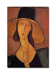 Hand-painted Oil Painting Jeanne Hebuterne in a Large Hat071 by Modigliani  with Stretched Frame