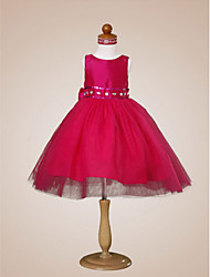 Ball Gown Knee-length Flower Girl Dress - Taffeta Tulle Bateau with Beading Bow(s) Ruffles Sash / Ribbon