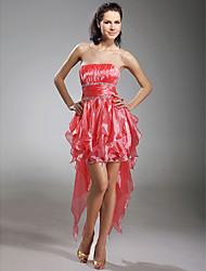 Cocktail Party/Prom/Holiday Dress - Watermelon Plus Sizes A-line/Princess Strapless Short/Mini/Asymmetrical Organza