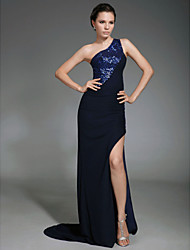 Military Ball/Formal Evening Dress - Dark Navy Plus Sizes Sheath/Column One Shoulder Sweep/Brush Train Chiffon