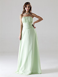 A-Line Princess Strapless Floor Length Chiffon Prom Dress with Draping